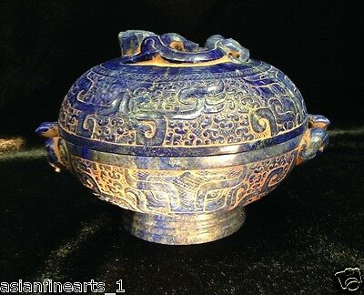Antique Chinese Lapis Lazuli Stone Dragon Pot W/ Lid Raised Carving Vase #117