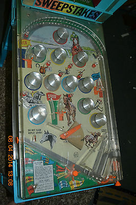 Vintage Marx Pinball Machine Derby Horse Race Sweepstakes Pin Ball Toy Game