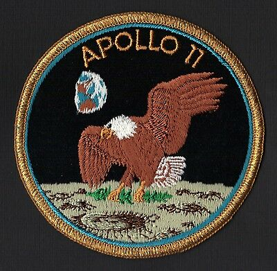 APOLLO 11  AB Emblem early 'Green Moon' VINTAGE ORIGINAL CLOTH BACK NASA PATCH