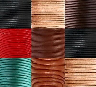 Round Leather Cord 100% Real 1, 2, 3, 4, 5, 6mm for Jewellery Craft many colours