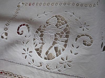 ANTIQUE FRENCH LINEN SHEET - SHEET FOR BABY - Lace - ThreadWok - Handmade