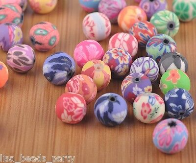 20pcs 10mm Round Clay Jewelry Finding DIY Charms Loose Spacer Beads Mixed Colors