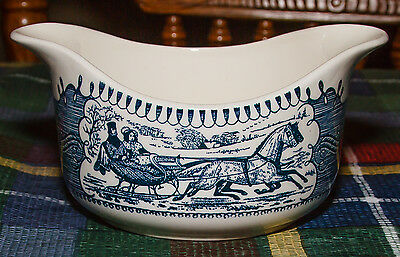 "Royal China - Currier & Ives - Gravy Boat - ""The Road, Winter"""