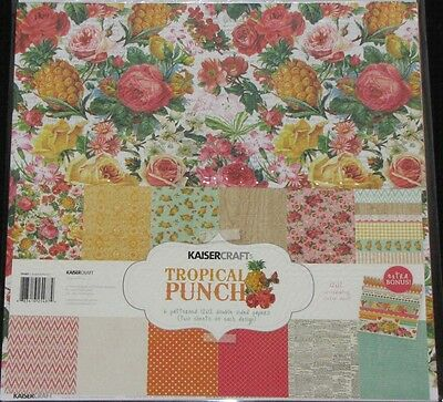 "Kaisercraft 'TROPICAL PUNCH' 12x12"" Paper Pk + Stickers KAISER *Deleted 6 Left*"