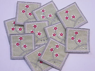 10 X Embroidered Green Pink Silver Flower Crafts Card Making Motifs Badges#3A109