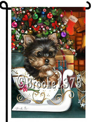 YORKIE painting GARDEN FLAG Dog Art Yorkshire Terrier Christmas tree puppy NEW