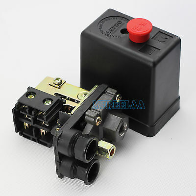 Uniporous 1 Port 90-120PSI Air Compressor Pressure Switch Control Valve 240V 20A