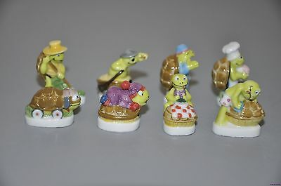 SET OF 8 FINE PORCELAIN HAND-PAINTED THE TURTLE FIGURINE COLLECTION