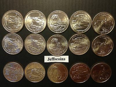 2014 P D S STATE PARK QUARTERS SET All 15 x Great Smoky National - Everglade PDS