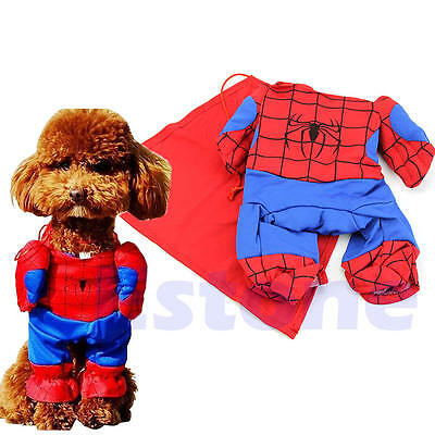 Pet Dogs Cats Spiderman Costume Party Clothes Clothing with Cape Cosplay outfit