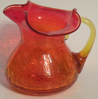 "AMBERINA CRAKLE GLASS PITCHER 4 1/2"" Tall, 4 3/8"" Wide"