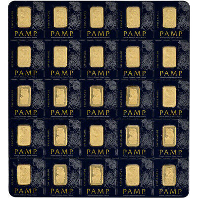25x1 gram Gold Bar - PAMP Suisse - Fortuna - 999.9 Fine in Sealed Assay