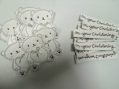 10 x Embroidered Teddy Bear On Your Christening Card Making Motif Crafts #18A82