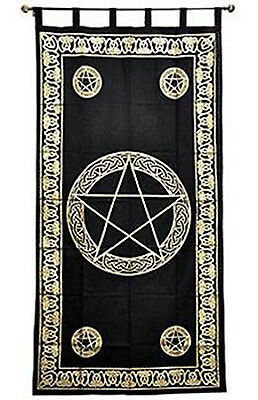 Pentacle Curtain Tapestry Wall Hanging Gold and Black Tie-Dye Altar Wicca