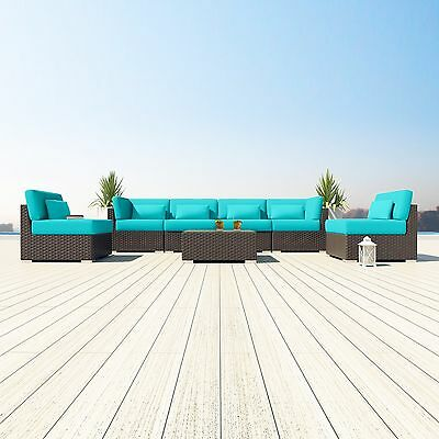 7 PC Modern Patio Rattan/Wicker Set Outdoor All Weather Sectional Sofa Furniture