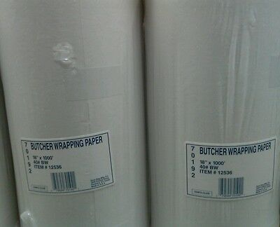 """2 x Duro Butcher Wrapping Paper  18""""x1000""""- Ideal for Meet Wrapping - Bakeries"""