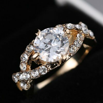 Women White Sapphire 18K Gold Plated Princess Cut AAA CZ Bride Wedding Rings
