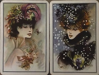 ART DECO Swap Playing Cards French Beauties Fashion Snow Flakes VINTAGE LADIES