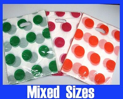 400x Plastic Carry Shopping Bags Mixed Size