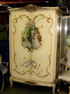 20th C. Gorgeous Italian Venetian Painted Louis XV Bombe Armoire or TV Cabinet
