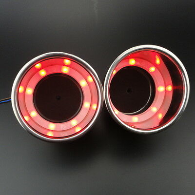 2 PCS 8Leds' Red Stainless Steel LED Cup Drink Holder Marine Car Truck Camper
