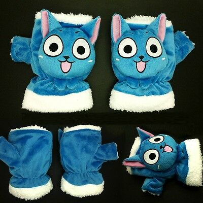 Hot Anime Fairy Tail Cosplay Happy Blue Cat Warm Soft Plush Mitten Gloves 1pairs