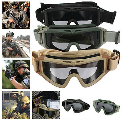 Military Tactical SWAT Hunting Airsoft Motorcycle Paintball Desert Army Goggles#