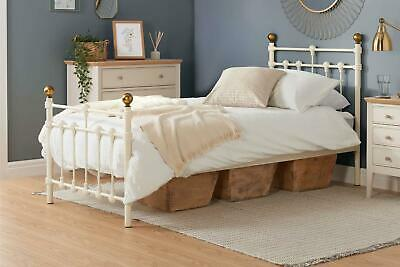 "Atlas Cream & Antique Brass Single 3'0"" Metal Bed Frame 3FT 90cm"