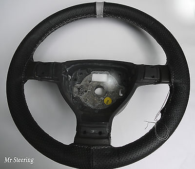 For Ford Escort 90-00 Black Perforated Leather + Grey Strap Steering Wheel Cover