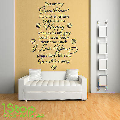 You Are My Sunshine Wall Sticker Quote - Bedroom Home Wall Art Decal X230