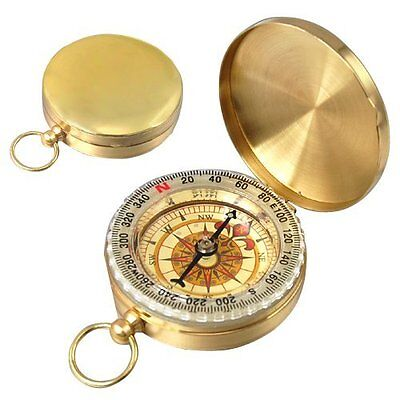 Easy Classic Metal Brass Pocket Watch Style Camping Compass Outdoor Tools  wt