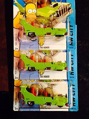 2014 HOT WHEELS SIMPSONS THE HOMER LOT OF 3 SUPER HTF