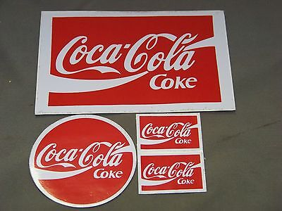 Coca-Cola Decals Lot of 4  Decals Total Coca-Cola Decals Round Square Decal Sign