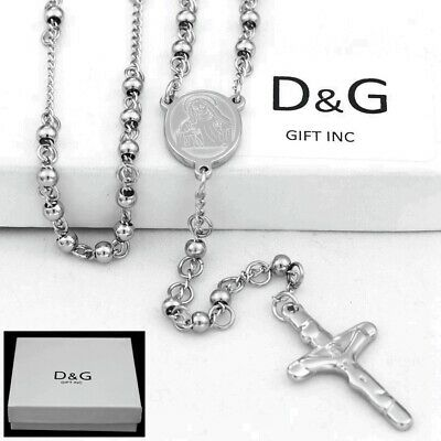 "DG 24"" Stainless Steel-Beaded Rosary VIRGIN MARY,JESUS CROSS Necklace.Unisex*BOX"