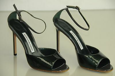 4c0dfe424539b NEW MANOLO BLAHNIK Pearly Green Patent Ankle Strap Sandals BB Heels SHOES 37