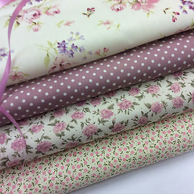 Cotton Fabric Fat Quarter Bundle x 4 Fabrics