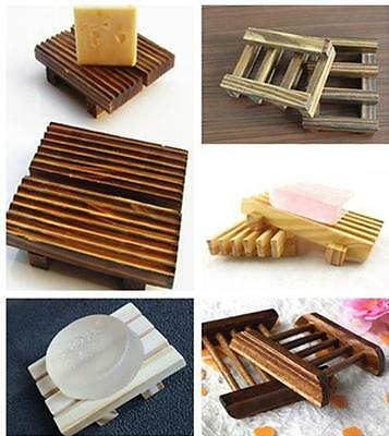 BUAU 1X Natural Wood Soap Tray Holder Dish Box Case Storage Shower Wash Bathroom