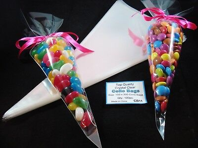 100 Clear Cello Cone Bags Lollies Lolly Favours Sweets Candy Treat FREE POSTAGE