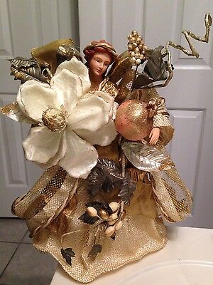 """CHRISTMAS TREE TOPPER - TABLE TOP GOLD ANGEL 15"""" TALL"""