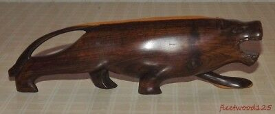 "Smooth Finish Carved Wooden Panther Jaguar Cougar Figurine Statue - 9"" Long"