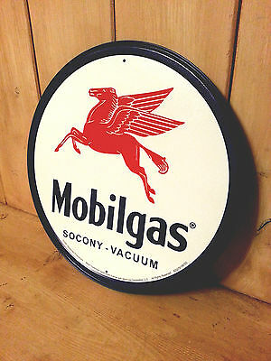 "Mobil Gas Oil Motor Socony 12"" Round Vintage Style Metal Tin Sign Home Decor USA"