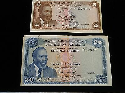 Two Central Bank Of Kenya Notes - 5 Shillings 1 July 1967 & 20 Shillings 1/7/71