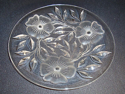 """Lead Crystal - Cut Glass - Plate - Floral Theme - Detailed - Beautiful - 8.25"""""""