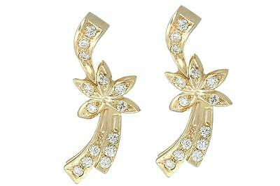 14k ROSE WHITE GOLD DIAMOND TWO TONE EARRINGS VINTAGE ANTIQUE STYLE STAR FLOWER