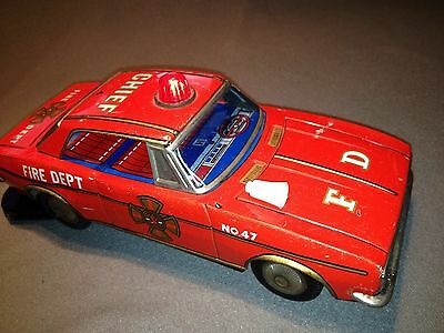 Vintage Modern Toys Battery Powered Fire Dept Car Used