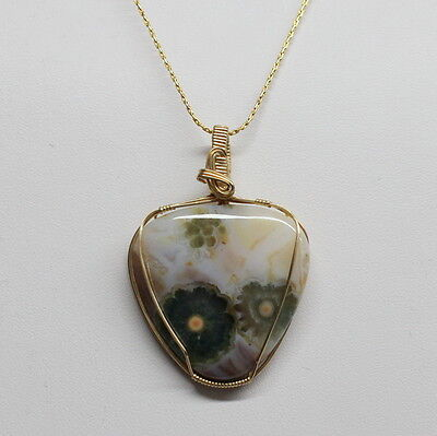 Amazing Ocean Jasper Orbicular Agate 14K Gold Filled Wire Wrapped Pendant, Wwp28