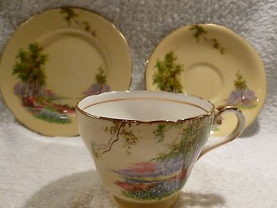 Art Deco China Aynsley trio 'Bluebell Time' Tea Set, Vintage Pale Yellow, Floral