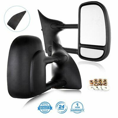 LH+RH For 99-16 Ford F250~F550 Super Duty Tow Telescoping MANUAL Side Mirrors
