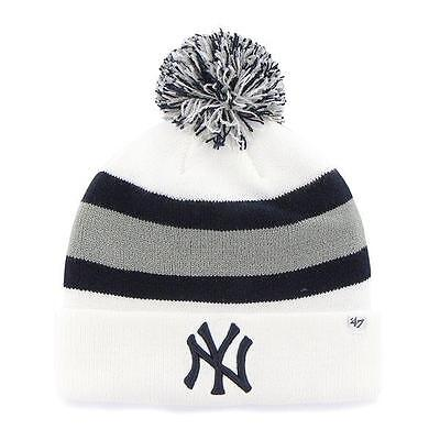 MLB  Wintermütze/Wollmütze NEW YORK YANKEES NY white cuffed knit hat Pommel