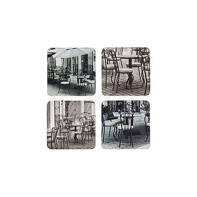 Kitchen Craft Cafe Cork Back Laminated Set of 4 Coasters